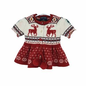 Ralph Lauren 2T red knit dress reindeer